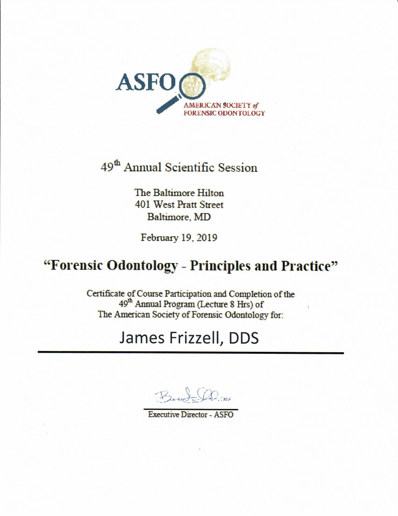 Forensic Odontology - Principles and Practice Cert
