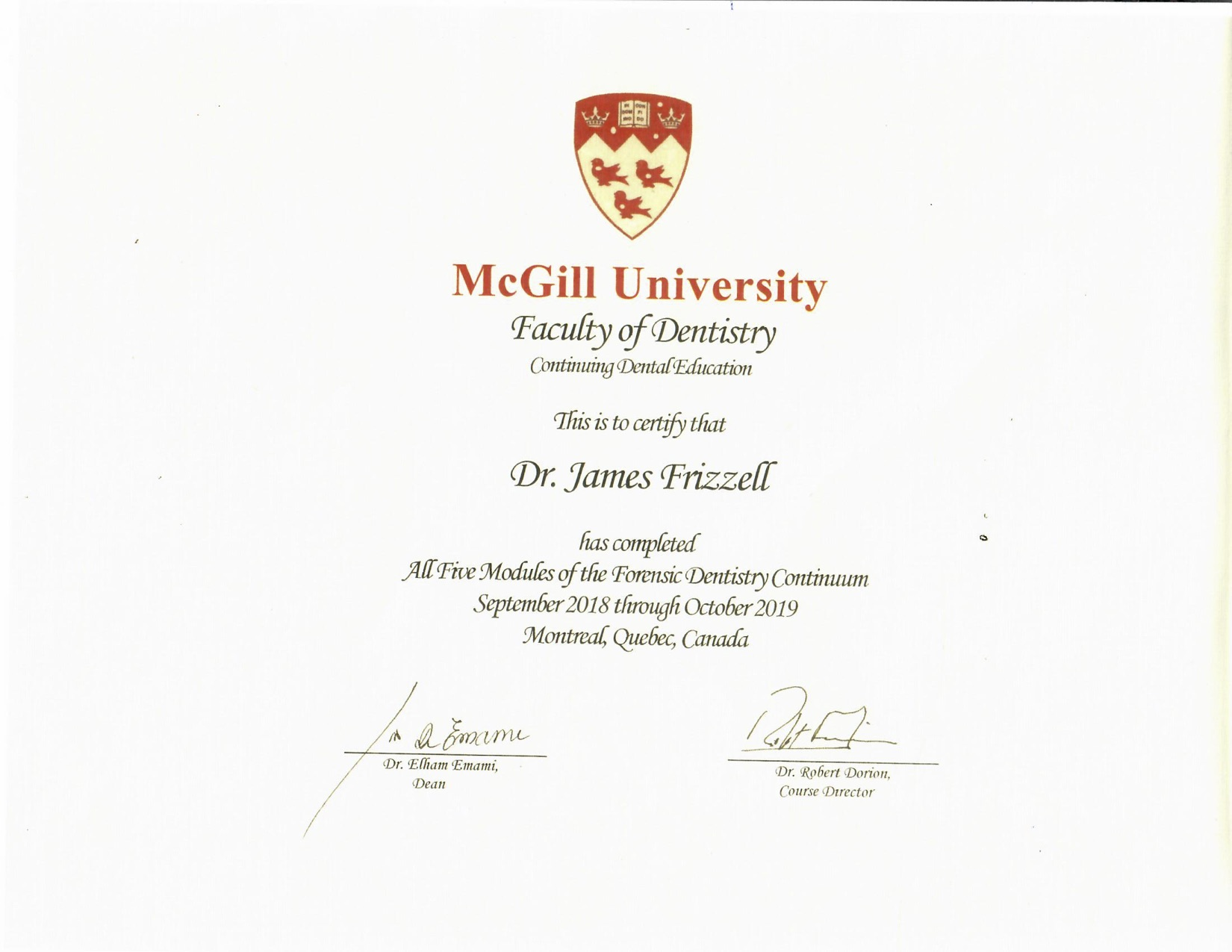 McGill University Dental Certification